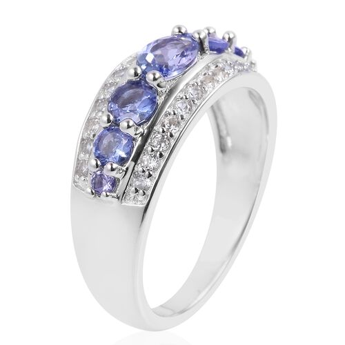 Tanzanite (Ovl and Rnd), Natural White Cambodian Zircon Ring in Rhodium Plated Sterling Silver 1.650 Ct.