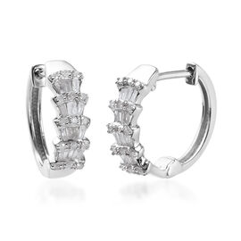 Diamond (Rnd and Bgt) Hoop Earrings (with Push Back) in Platinum Overlay Sterling Silver 0.50 Ct.