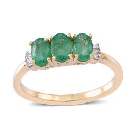 1.25 Carat AA Zambian Emerald and Diamond 3 Stone Ring in 9K Gold 2.55 Grams I3 GH