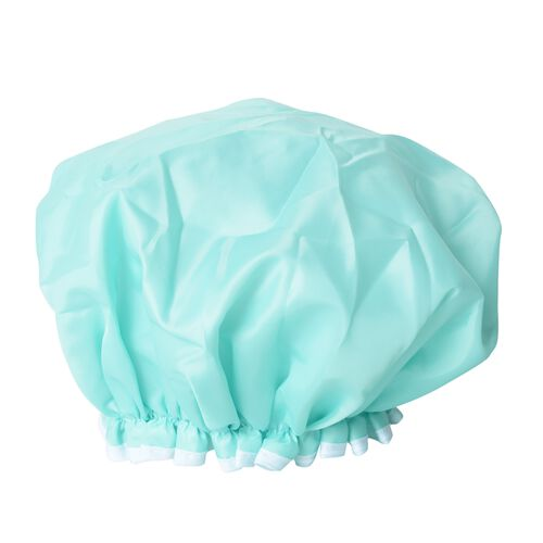 Set of 2- Green and White Colour Shower Cap (Size 27 Cm) and Hair Wrap (Size 62x24 Cm)