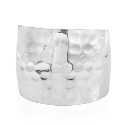 Designer Inspired- Hand Made Silver Plated Cuff Bangle (Size 7.5) with Hammered Finish