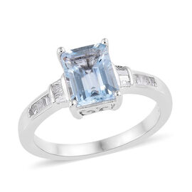 Espirito Santo Aquamarine (Oct), Diamond Ring in Platinum Overlay Sterling Silver 1.090 Ct.
