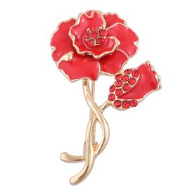 Austrian Red Crystal (Rnd) Flower Brooch with Enameled in Gold Tone