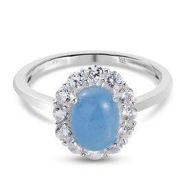 Blue Jade and Natural Cambodian Zircon Halo Ring in Sterling Silver 2.18 Ct.