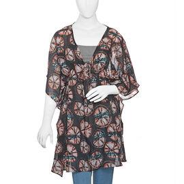 Black, Orange and Multi Colour Tie Dye Pattern Apparel (Size 80x65 Cm)