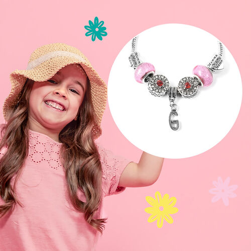 G Initial Charm Bracelet for Children in Simulated Pink Colour Bead, Red and White Austrian Crystal Size 6.5 Inch in Silver Tone
