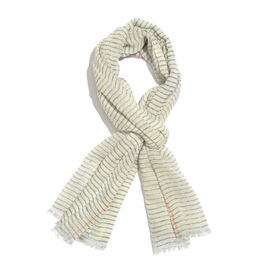 100% Merino Wool Off White and Blue Colour Stripes Pattern Scarf with Fringes (Size 180X70 Cm)
