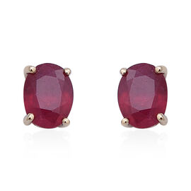 9K Yellow Gold AAA African Ruby (Ovl 7x5mm) Stud Earrings (with Push Back) 2.27 Ct.