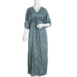 Teal Green Long Kimono Dress (One Size Fits All)