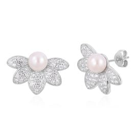 Japanese Akoya Pearl (Rnd 6-6.5mm), Natural White Cambodian Zircon Flower Stud Earrings (with Push Back) in Platinum Overlay Sterling Silver Number of Gemstone 112