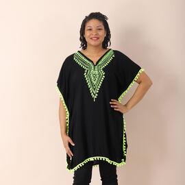 JOVIE 100% viscose Kaftan with Embroidery (Size 70x80cm) - Black & Green