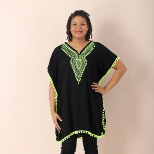 JOVIE Embroidered Kaftan With Tassel Detailing - Black and Green