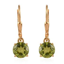 AA Hebei Peridot (Rnd) Lever Back Earrings in 14K Gold Overlay Sterling Silver 2.750 Ct.