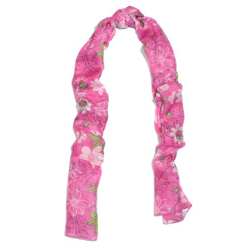 100% Mulberry Silk Pink, White and Green Colour Handscreen Floral Printed Scarf (Size 170X50 Cm)