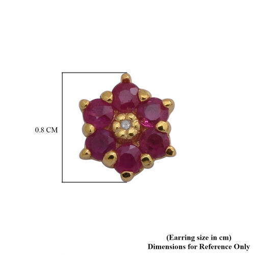 Burmese Ruby and Diamond Floral Stud Earrings in Yellow Gold Overlay Sterling Silver 1.00 Ct.
