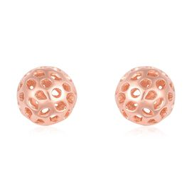 RACHEL GALLEY Rose Gold Overlay Sterling Silver Globe Stud Earrings (with Push Back)