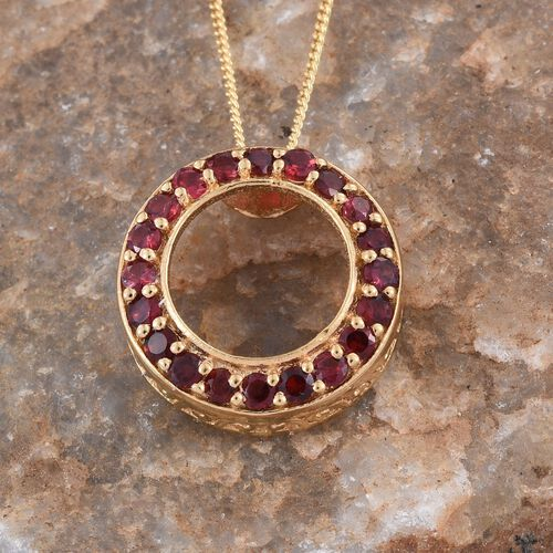 Mahenge Spinel (Rnd) Circle Pendant With Chain in 14K Gold Overlay Sterling Silver 0.850 Ct.