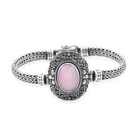 Royal Bali Collection - Peruvian Pink Opal (Ovl 18x13mm) Tulang Naga Bracelet (Size 7.25) in Sterlin