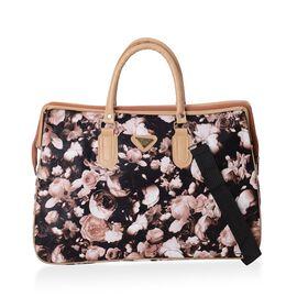 Floral Pattern Travel Bag with Detachable Shoulder Strap and Zipper Closure (Size 47x32x21 Cm) - Cof
