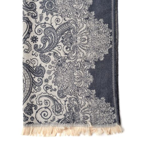 Designer Dark Grey and Cream Colour Paisley Pattern Scarf with Tassels (Size 180X65 Cm)
