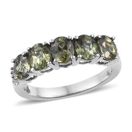 RHAPSODY 2.05 Ct AAAA Russian Demantoid Garnet and Diamond 5 Stone Ring in 950 Platinum 4.9 Grams