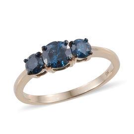 9K Yellow Gold Blue Diamond (Rnd) Ring 1.250 Ct.