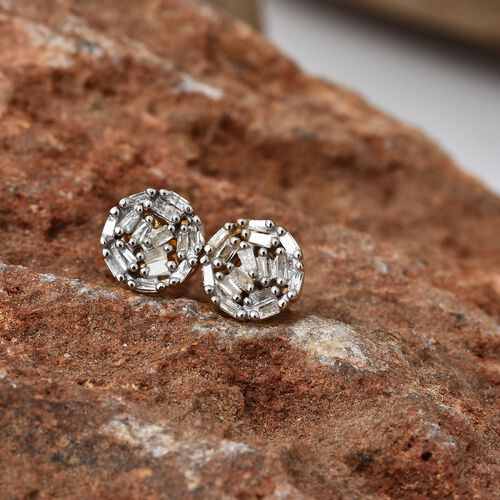 Diamond (Bgt) Earrings (with Push Back) in 14K Gold Overlay Sterling Silver 0.200 Ct.