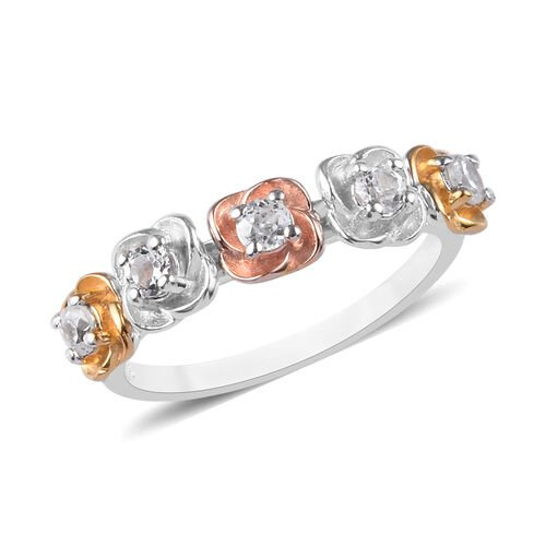 Natural Cambodian Zircon Floral Ring in Platinum, Yellow and Rose Gold Overlay Sterling Silver 0.50