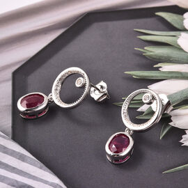 Isabella Liu Twilight Collection -  African Ruby and Natural Cambodian Zircon Earrings (with Push Back) in Rhodium Overlay Sterling Silver 3.96 Ct.
