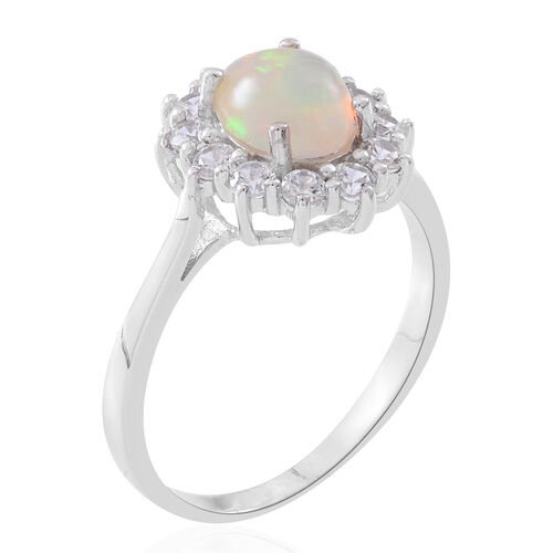 Rare Size Ethiopian Welo Opal (Ovl 9x7 mm), Natural White Cambodian Zircon Ring in Rhodium Plated Sterling Silver 2.500 Ct.