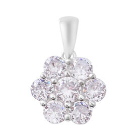 ELANZA Simulated Diamond Floral Cluster Pendant in Rhodium Plated Sterling Silver