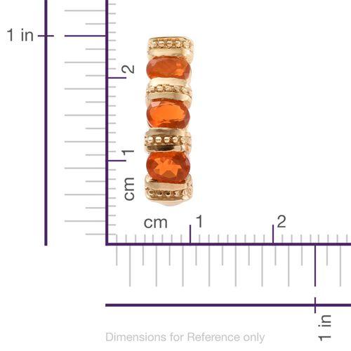 Jalisco Fire Opal (Ovl) J Hoop Earrings (with Push Back) in 14K Gold Overlay Sterling Silver 1.500 Ct.