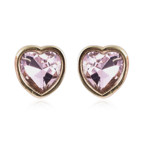 2 Piece Set - Simulated Pink Sapphire and White Austrian Crystal Heart Necklace (Size 20 with 1 inch Extender) and Earrings (with Push Back)