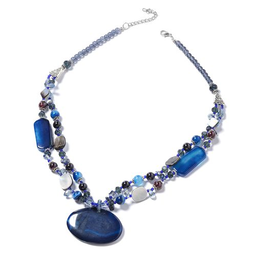 Blue Agate, Simulated Blue Sapphire, Simulated Grey Moonstone, Garnet, Brown Shell, Keshi Peacock Pearl and Multi Colour Beads Necklace (Size 24) in Silver Bond.
