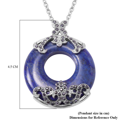 Lapis Lazuli and Hematitie Colour Austrian Crystal Pendant with Chain in Stainless Steel