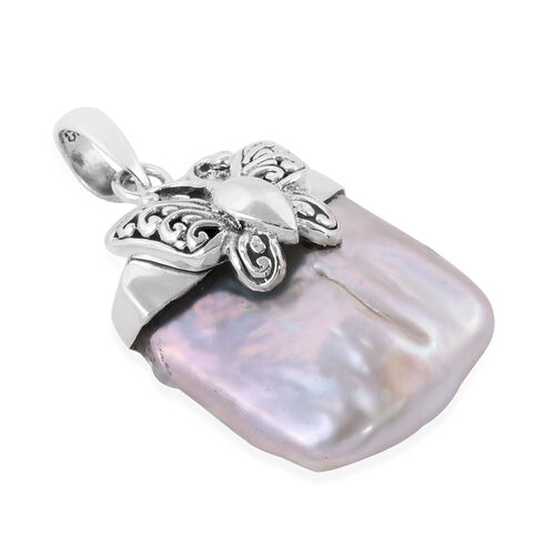 Royal Bali Collection Fresh Water Pearl Butterfly Pendant in Sterling Silver