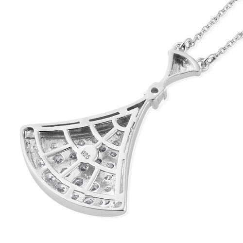 J Francis - Platinum Overlay Sterling Silver (Rnd) Pendant With Chain (Size 20) Made With SWAROVSKI ZIRCONIA