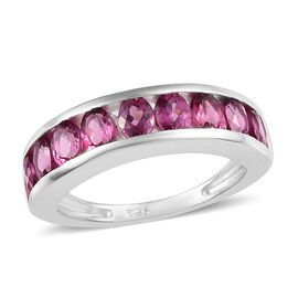 Lotus Garnet (Ovl) Half Eternity Band Ring in Sterling Silver 2.00 Ct.