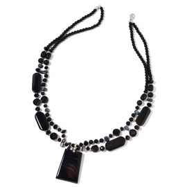 Black Agate,Simulated Black Spinel and Simulated Black Shell Necklace (Size 29 with 2 Inch Extender) in Silver Tone 750.000 Ct.