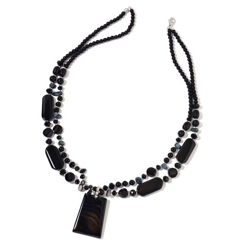 Black Agate,Simulated Black Spinel and Simulated Black Shell Necklace (Size 29 with 2 Inch Extender)