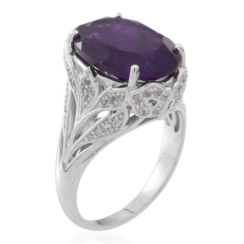 Lusaka Amethyst (Ovl 10.50 Ct), Natural White Cambodian Zircon Ring in Rhodium Plated Sterling Silver 11.000 Ct.