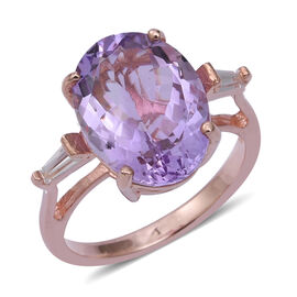 Rose De France Amethyst (Ovl 7.90 Ct), Natural Cambodian White Zircon Ring in Rose Gold Overlay Ster