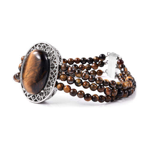 Yellow Tiger Eye Bracelet (Size 7.5) with Magnetic Clip in Stainless Steel 70.00  Ct.