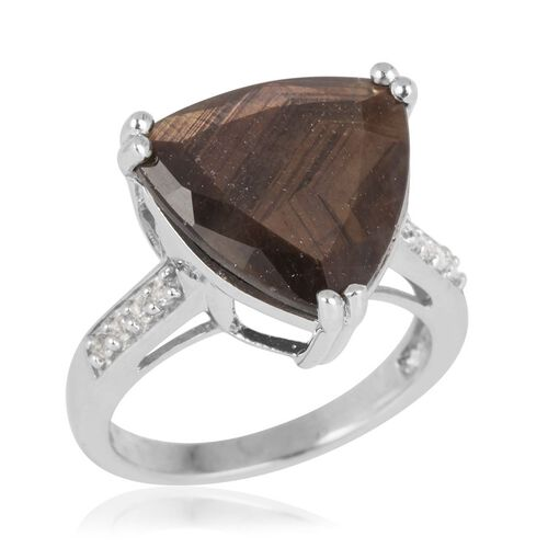 Chocolate Sapphire (Trl 8.60 Ct), White Topaz Ring in Rhodium Plated Sterling Silver 8.750 Ct.