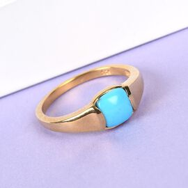 Arizona Sleeping Beauty Turquoise Solitaire Ring in 14K Gold Overlay Sterling Silver 0.75 Ct