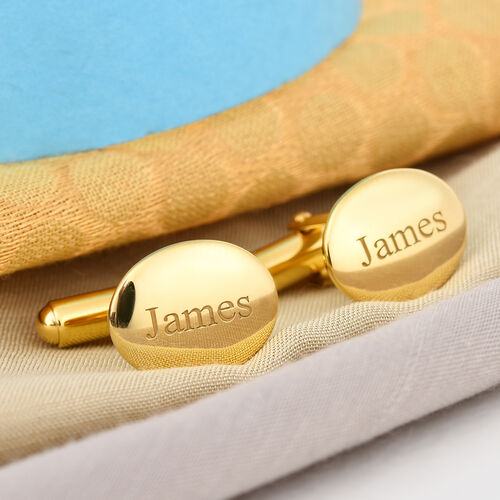 Personalise Engraved Men Oval Cufflinks in Silver