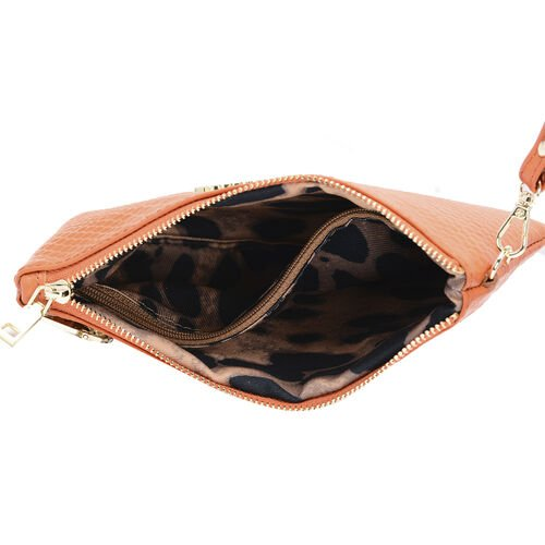 SENCILLEZ 100% Genuine Leather RFID Snake Skin Embossed Clutch Bag with Zipper Closure (Size 19x0.5cm) - Orange Colour