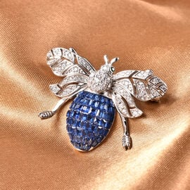 Lustro Stella - Simulated Blue Sapphire, Simulated Diamond and Simulated Emerald Pendant or Brooch in Platinum Overlay Sterling Silver