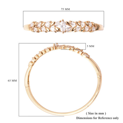Simulated Diamond Leaf Design Bangle (Size 6.75) in Yellow Gold Plated