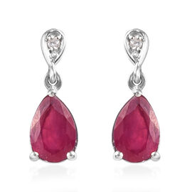 African Ruby (Pear 9x6 mm), Natural Cambodian Zircon Drop Dangle Earrings (with Push Back) in Platin